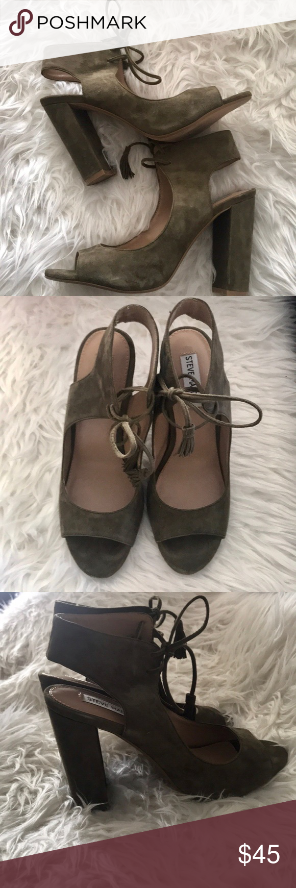 6bdd4667145 Steve Madden Heel Sandal Steve Madden Charlea Block Heel Sandal Very pretty  Olive Suede Tassels accent the ends of this tie front