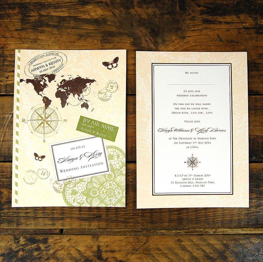 travel theme invite - Travel Themed Wedding Invitations