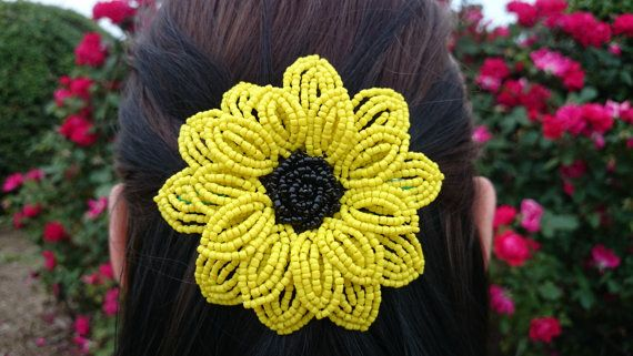 FREE SHIPPING  French Beaded Sunflower by FloralUniqueDesign