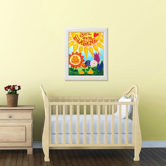 Wall Art for Kids, Girls Room, You Are My Sunshine, 16x20 PRINT, Art ...