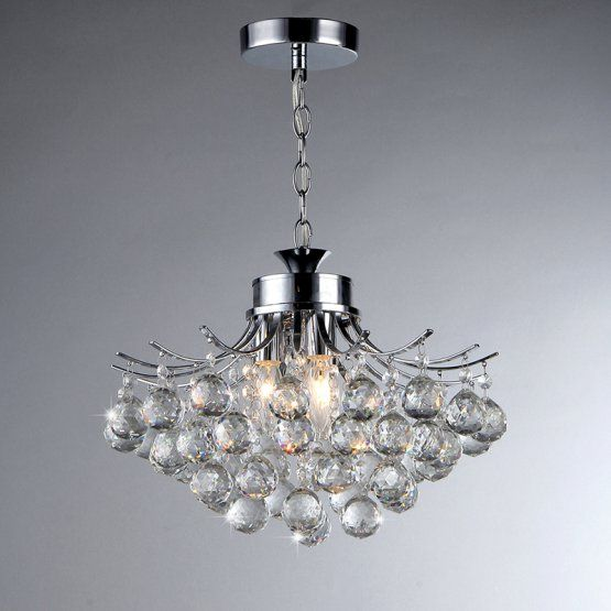 Warehouse Of Tiffany Shield 4 Light Crystal Chrome Chandelier