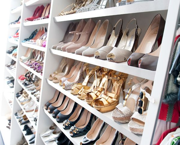 slanted shoe storage via made by girl i would love to have shoe shelves like theseit would be nice to have all those shoes too one can dream