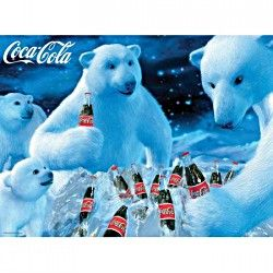 COCA COLA ~ POLAR BEARS MOON 24x36 POSTER Coke Soda Pop Bottle Bear NEW//ROLLED!