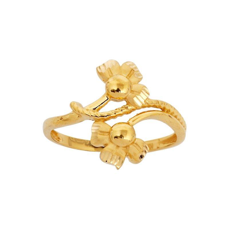 Fresh ring designs. Double flower designer gold ring | Gold ...