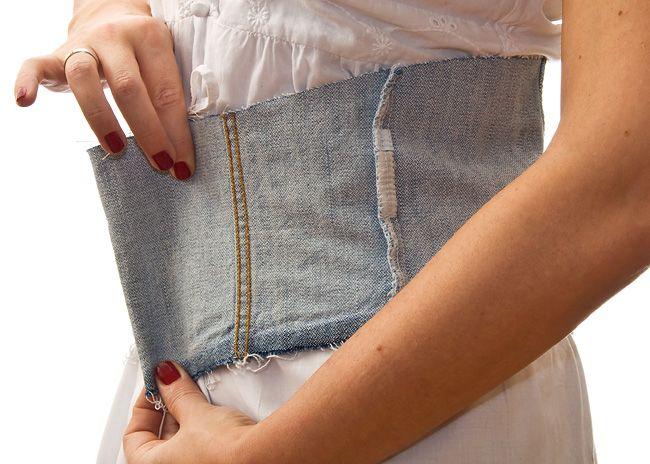 f90695ce94 Fashion DIY Tutorial  Handmade Denim Corset Belt - Step 1  Put On The Denim  Part