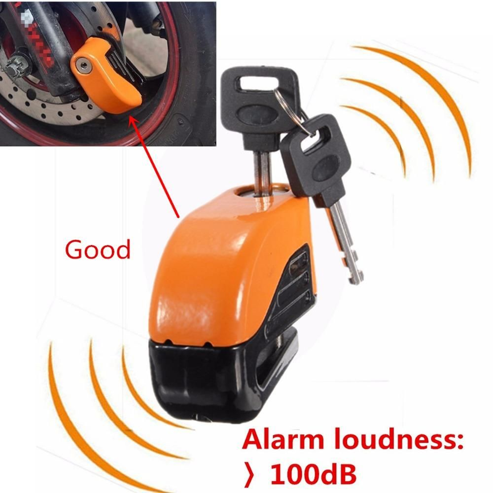 Orange 6mm Security E Bike Mtb Or Motorcycle Rotor Security Lock With Alarm Security Locks Ebike Bike