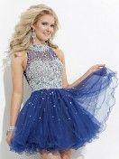 A-line/Princess High Neck Ruffles Sleeveless Short/Mini Organza Dress