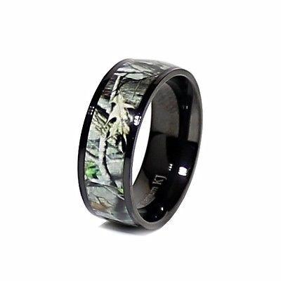 Real Oak Black Camo Anium Uni Hunting Camouflage 7mm Wedding Band Ring New