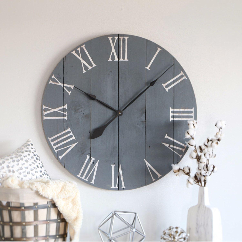 "25/30"" wall clock. Slate gray. Large wall clock. Wall ..."