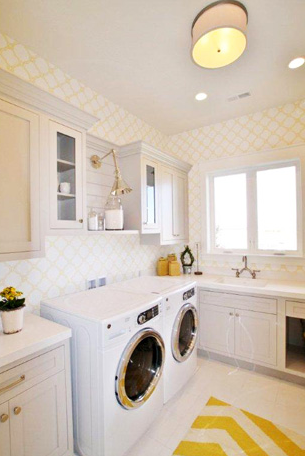 Parade of Homes 2013- I love everything about this laundry room! LOVE the wallpaper the most.