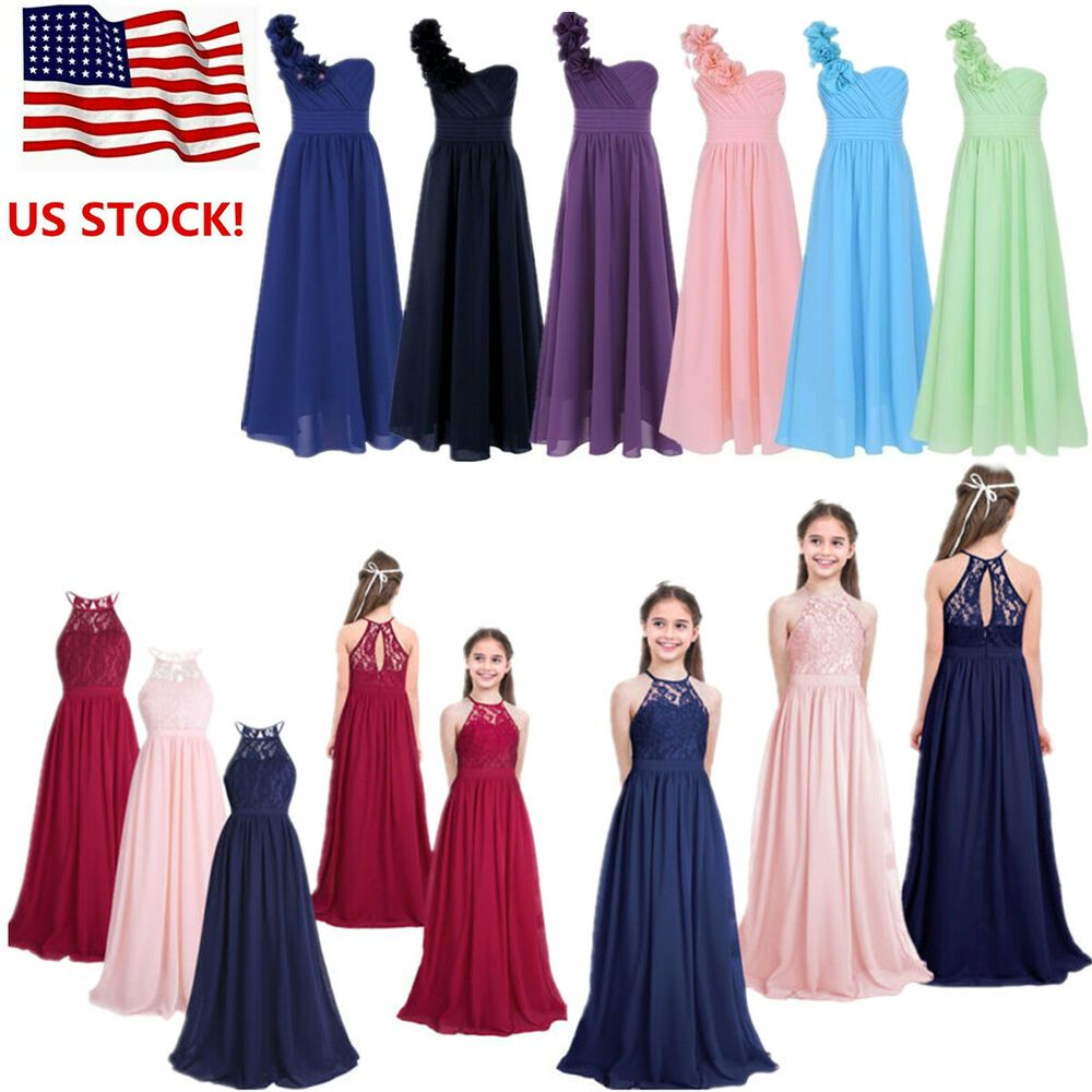 Bridesmaid Long Maxi Gown Dress Chiffon Flower Girls Wedding Pageant Formal Jr
