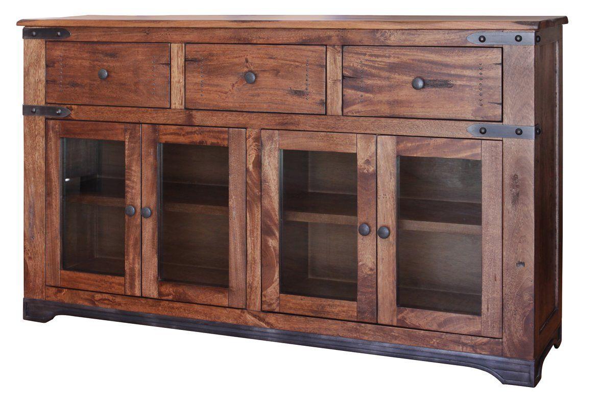 Stodola 3 Drawer 4 Glass Door Sideboard Rustic Tv Stand Tv Stand Furniture