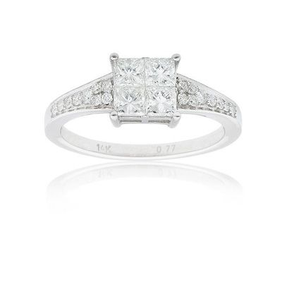 3 4 Ct T W Princess Cut Quad Diamond Ring In 14k White