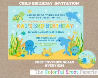 Under the sea invitation boy under sea printable under the sea