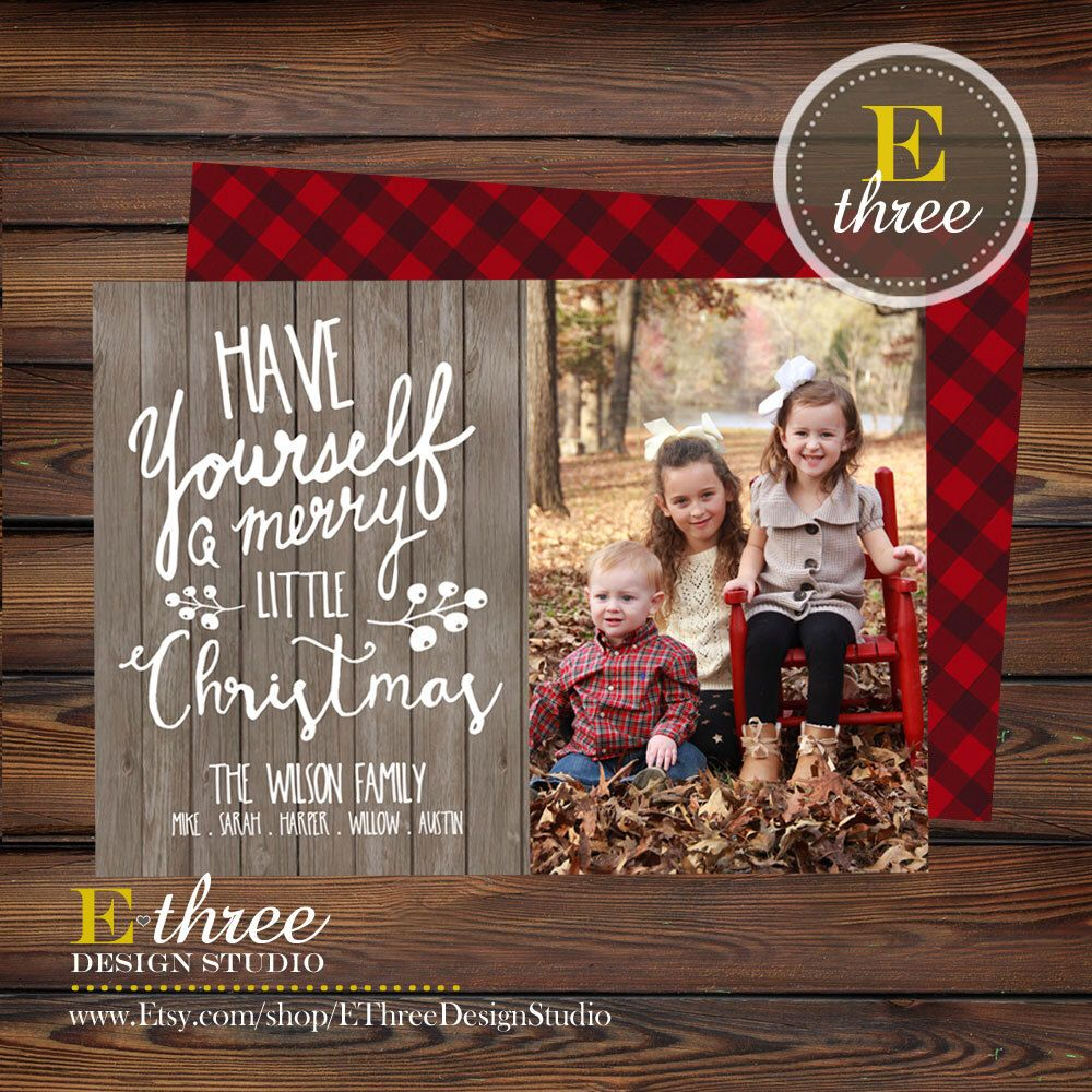 rustic christmas cards photo christmas card wood and plaid typography family christmas cards by ethreedesignstudio on etsy - Rustic Christmas Cards
