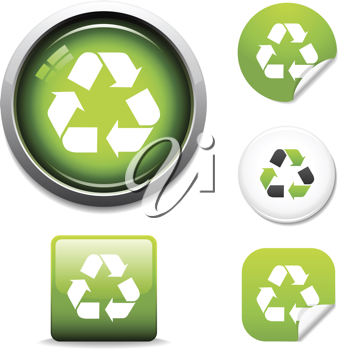 Recycle symbol button and sticker icon set