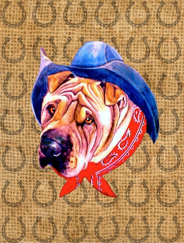 Shar Pei Dog Country Lucky Horseshoe 2-Sided Garden Flag