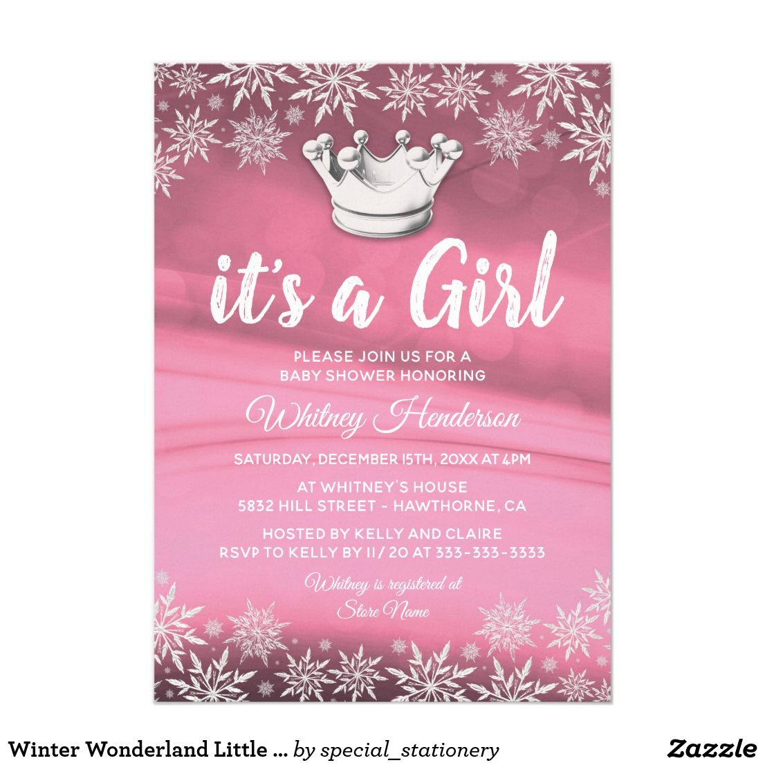 Winter Wonderland Little Princess Girl Baby Shower Card Winter theme ...
