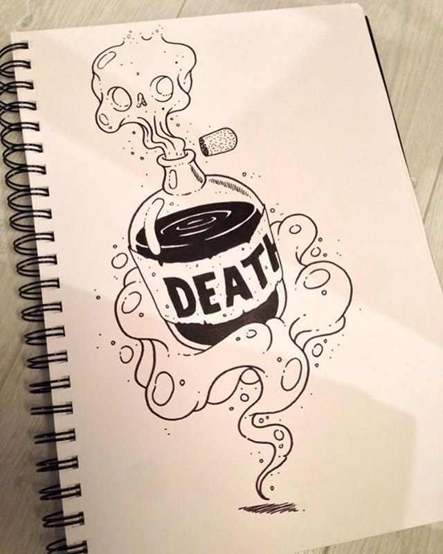 Live Life With No Regrets Tattoo Sketches Drawing Art: Death By Alexandre Godreau #cool