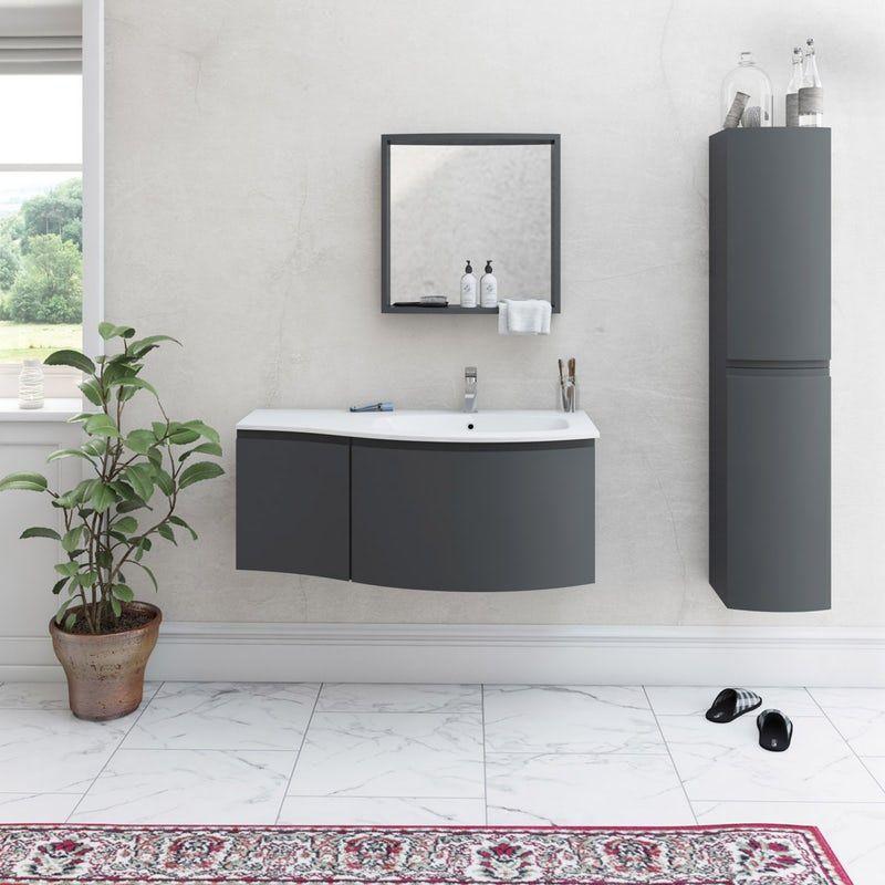 Mode Harrison Slate Gloss Grey Right Handed Wall Hung Vanity Unit And Basin 1000mm Wall Hung Vanity Vanity Units Grey Furniture