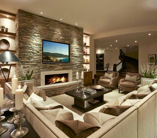 Low Wide Fireplace With Hearth And Tv Add Mantel Salon