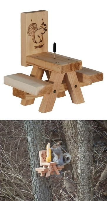 Picnic Table Ear-of-Corn Squirrel Feeder by Woodlink.  This looks pretty easy to make or something similar. We have at least one squirrel in the next door neighbors trees, would be great to see them feeding on this.