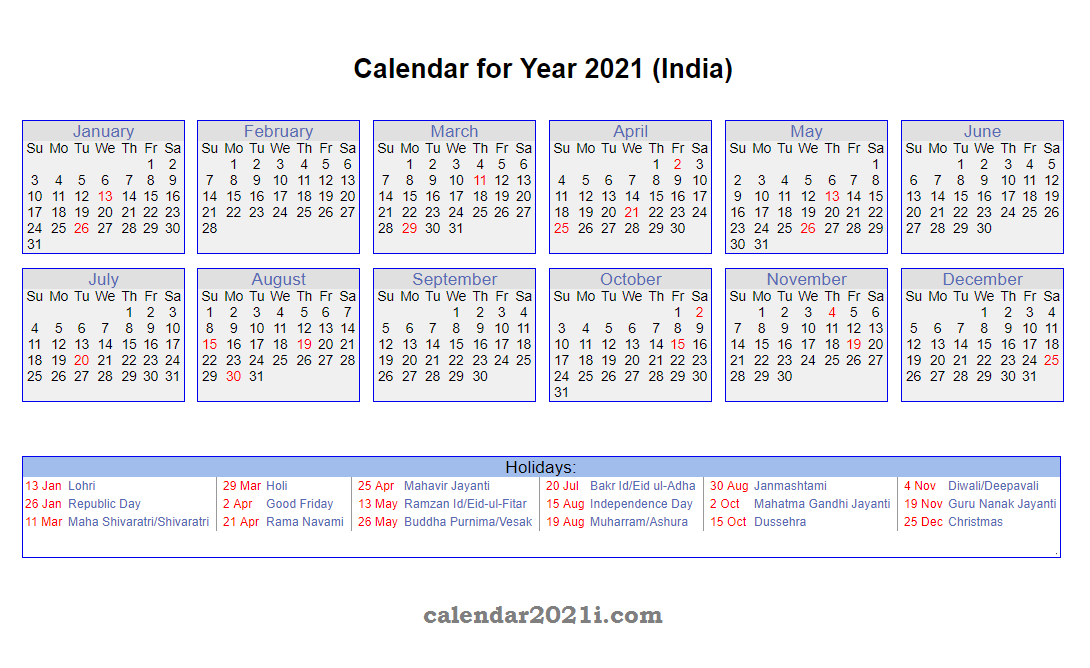 Holiday Calendar 2021 India Images