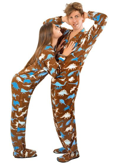 f94a761180 Dinosaur Print Fleece Footed Pajamas with Butt Flap