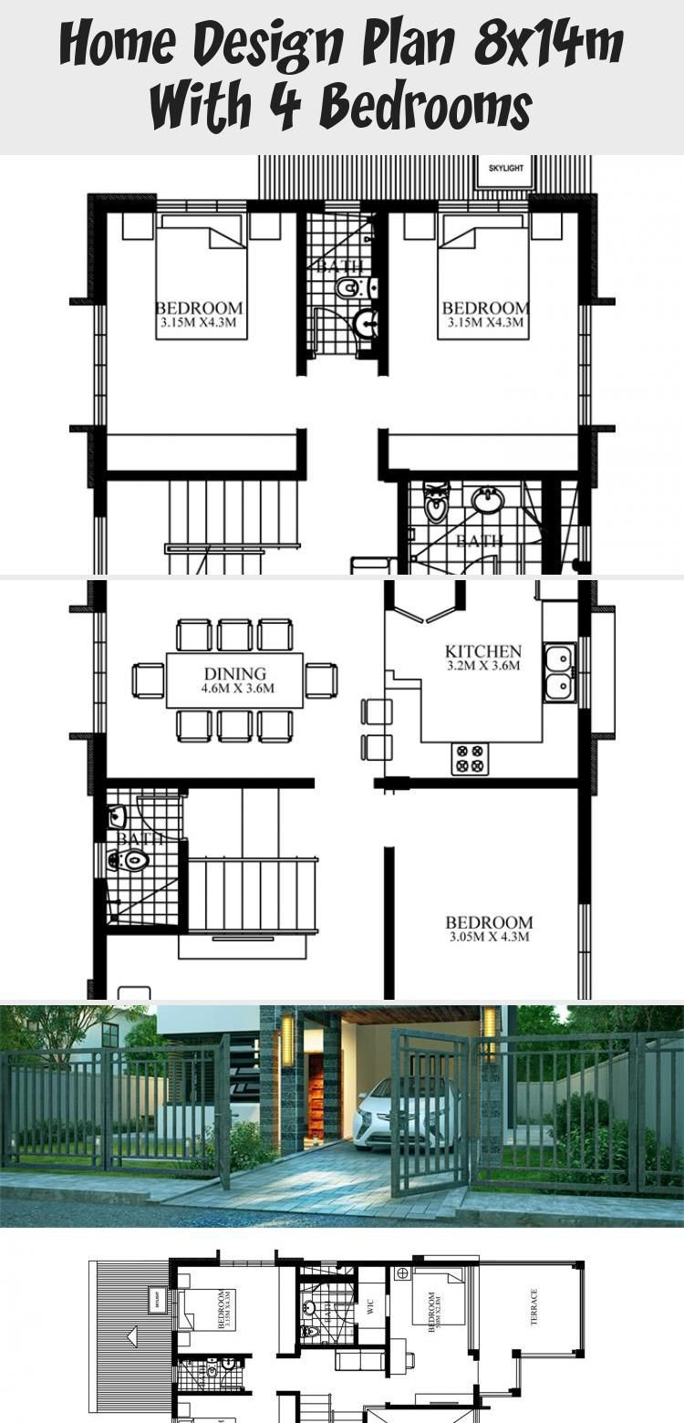 Home Design Plan 8x14m With 4 Bedrooms Home Planssearch Modernarchitecturegreen Modernarchit In 2020 Southern House Plans Home Design Plan Unique Small House Plans