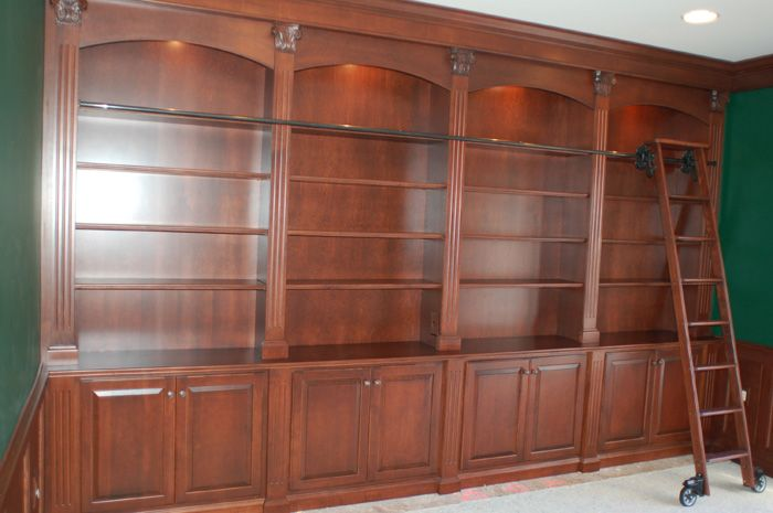 Custom Home Library With Rolling Ladder For The Living
