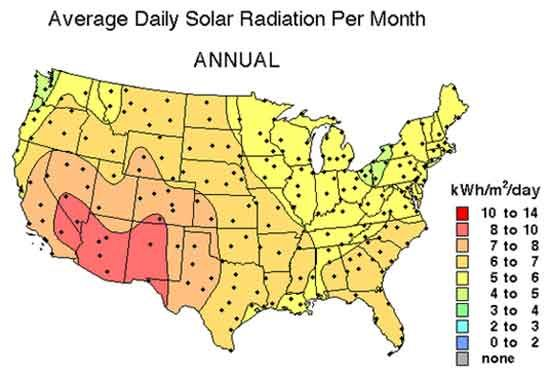 Here Is A Map Showing Average Days Of Sunlight For Solar Energy A - Solar power map us
