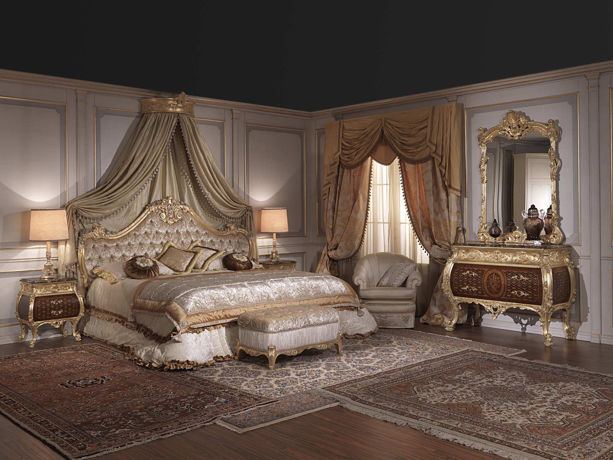 Furniture for luxury bedroom Emperador Gold, art. 397931