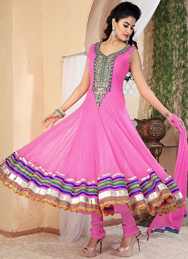 Magnificent Hot Pink Anarkali Suit | Shalwar ( Indian fashion ...