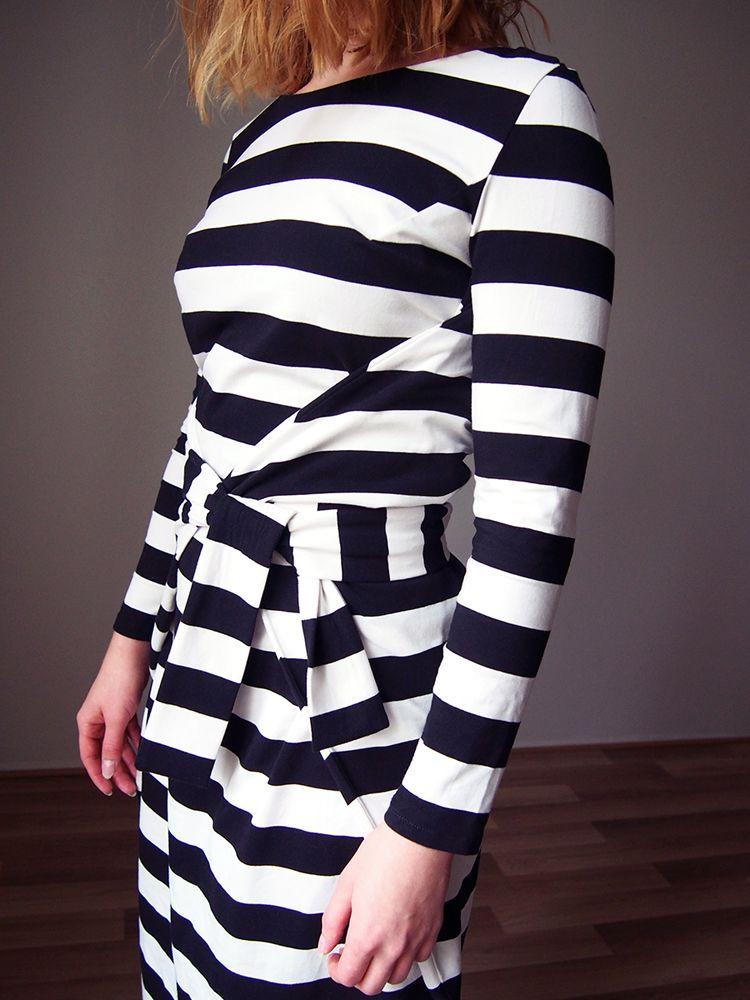 Named clothing wrap dress, modern sewing pattern