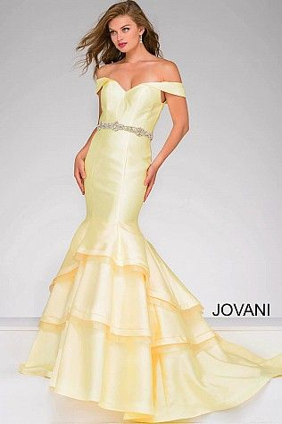 Yellow Off the Shoulder Mermaid Prom Dress | Homecoming 2016/Prom ...