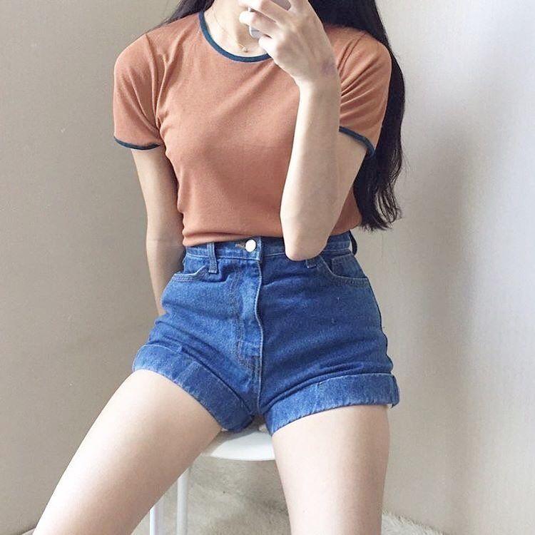 High Waisted Shorts Korean Koreanoutfit Makeup Goals Aesthetic Beauty Flawless Black Brightness Outfit Skirt Dre Korean Outfits Ulzzang Fashion Korean Fashion