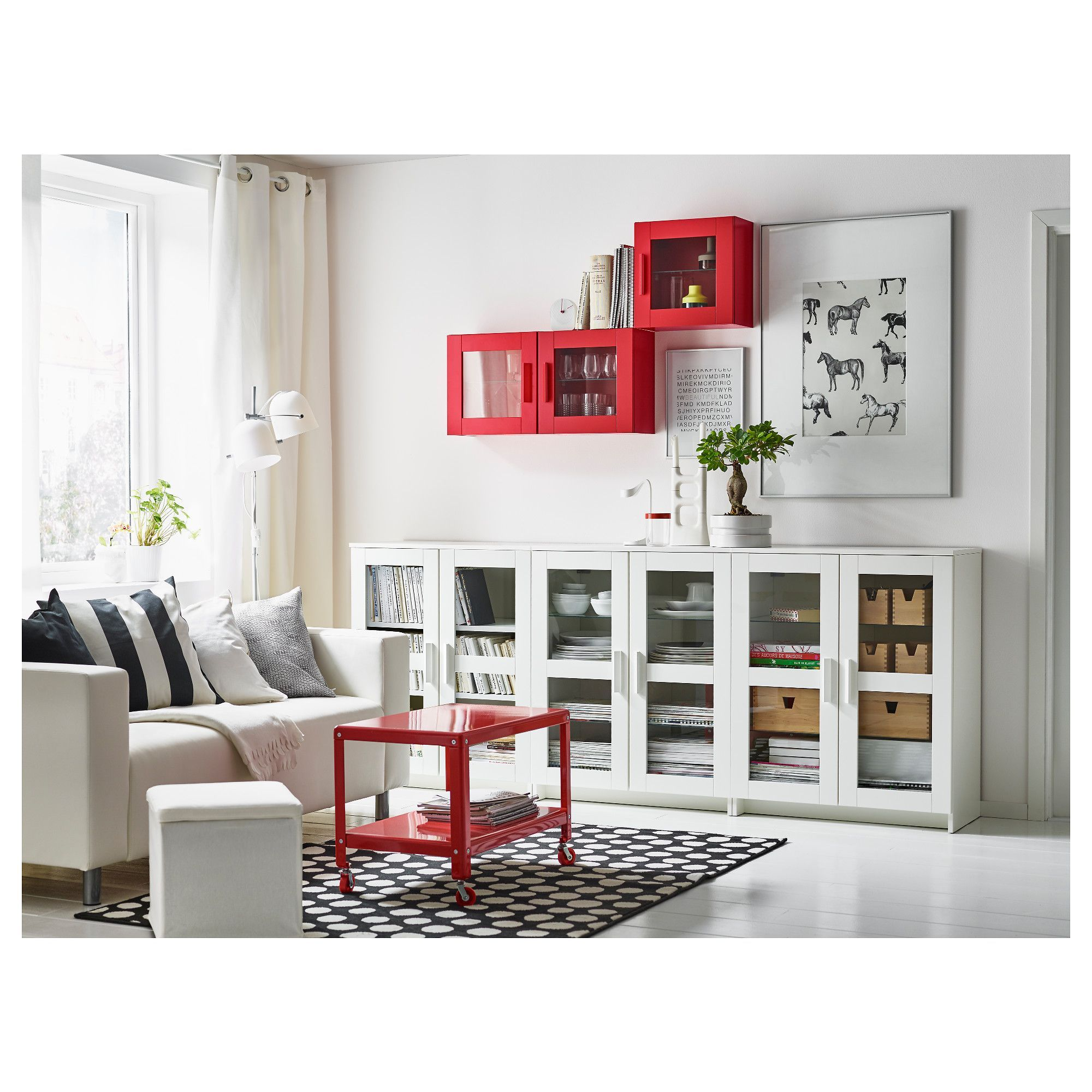 Ikea Brimnes Cabinet With Doors Glass Black Behind The Panel Doors You Can Keep Your Ikea Living Room Living Room Storage Living Room Storage Solutions