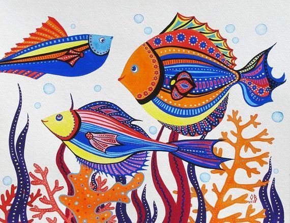 Sea Creatures ORIGINAL Nautical Painting Kids by NurseryRoomDecor, $35.00