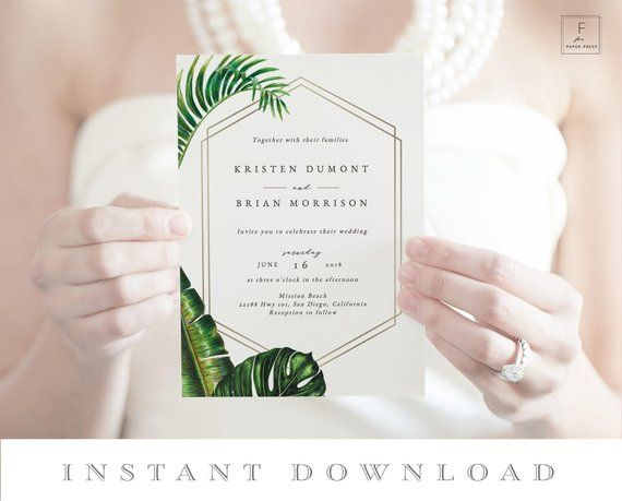 Hawaii Wedding Invite Tropical Leaf