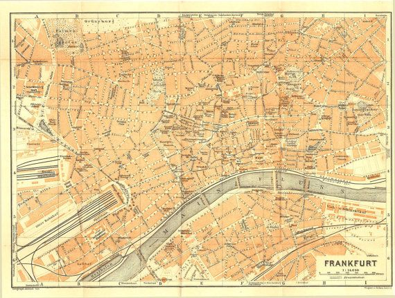 1925 Frankfurt City Map Antique Street Plan Hesse Germany Baedeker By Carambasvintage Sehir