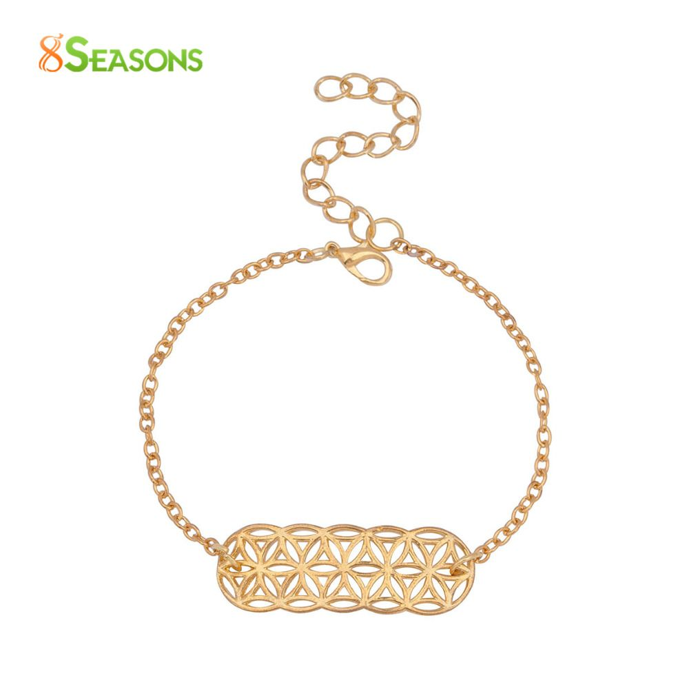 Seasons women fashion jewelry copper flower pattern charm bracelets