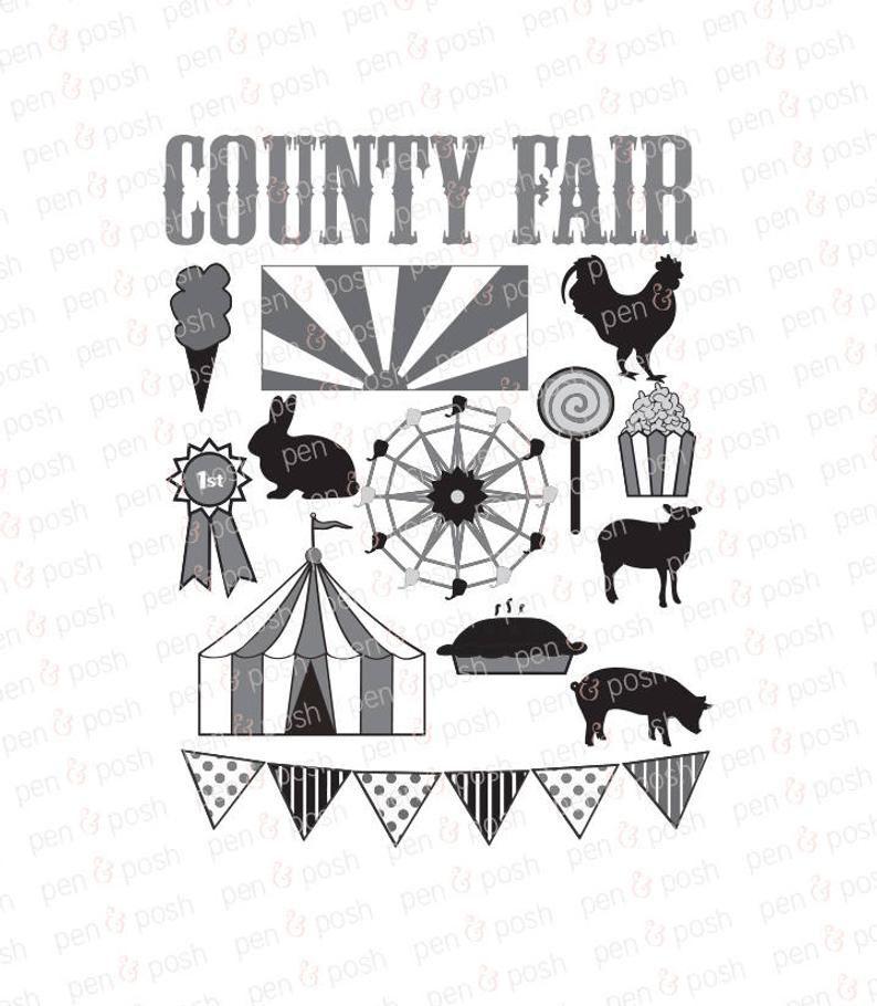 Fair Svg Carnival Svg Carnival Clip Art County Fair Svg Ferris Wheel Fair Farm Animals Fair Clip Art Dxf Art Bundle County Fair Clip Art