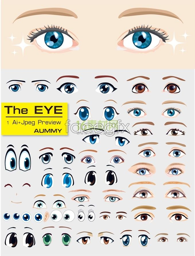 Variety of cartoon eyes template vector | tools,tips,and ...