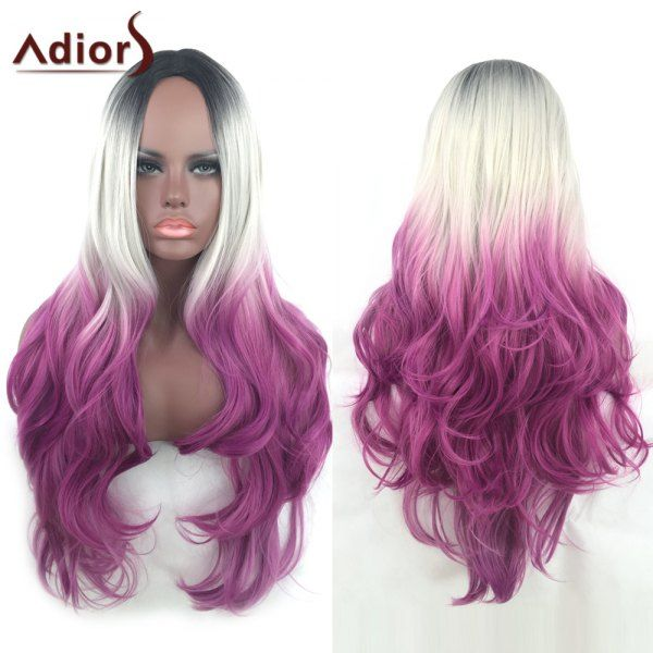 Adiors Hair Long Wavy Gradient Middle Part Synthetic Wig - COLORMIX
