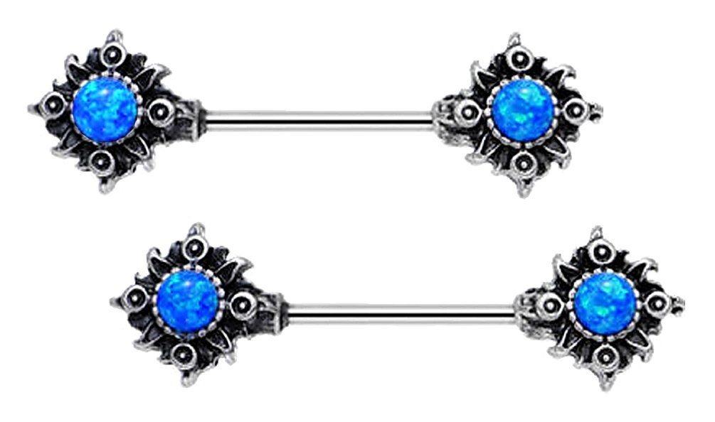 14g Pair of Synthetic Black Multi color fire opal Tribal Sun sunburst ends Nipple barbell rings