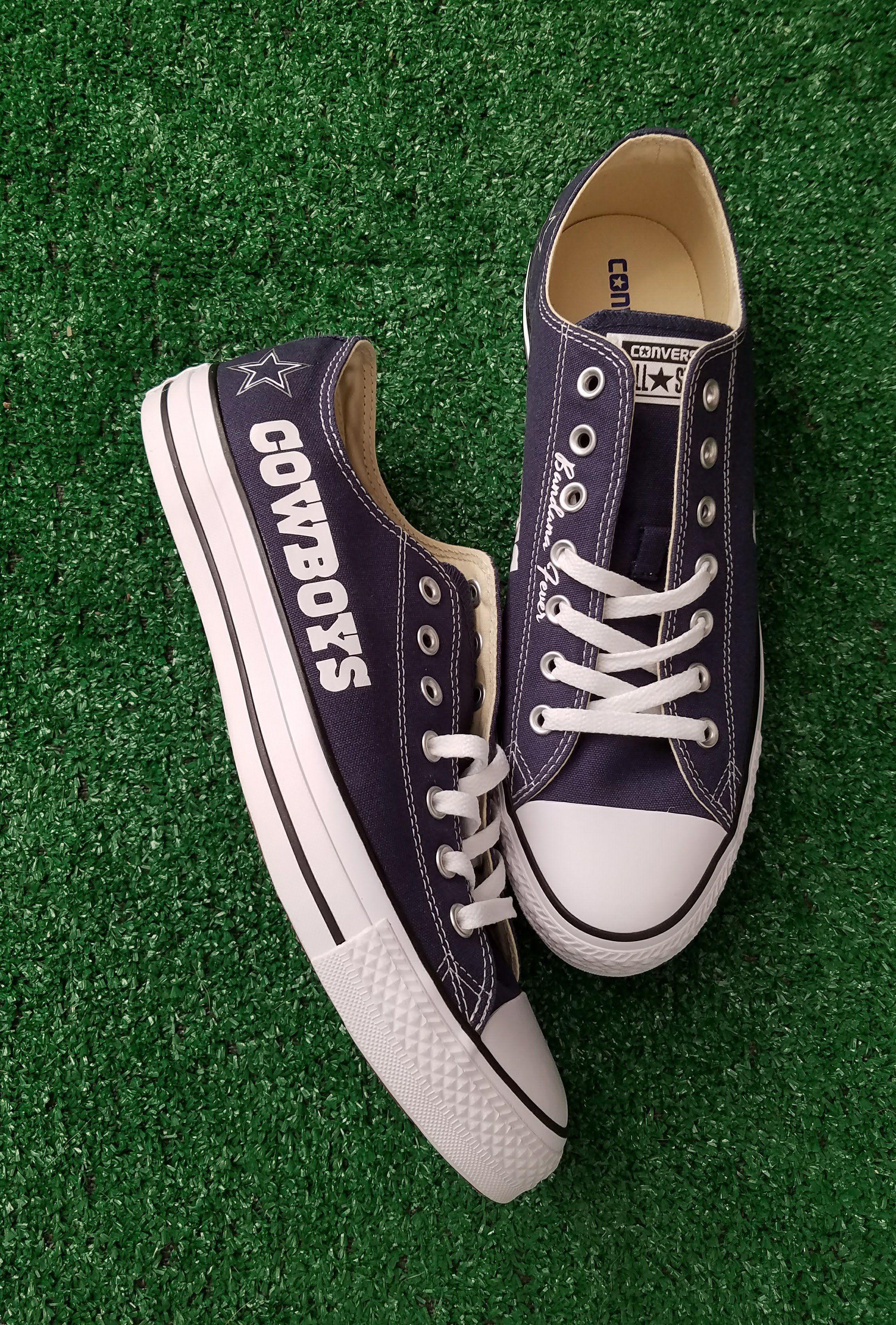 31c6ae9ea96240 Bandana Fever Dallas Cowboys Print Custom Navy Converse Low Top Shoes   sneakers  explorepage
