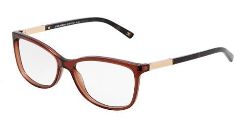 bfd8c67841 Dolce   Gabbana Eyewear  model 3107 - Women Ophthalmic Collection. Square  Glasses with Transparent Brown Frame in Plastic.