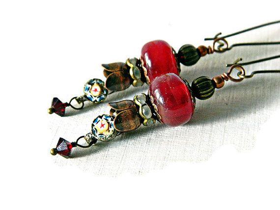 Red Bohemian earrings with Lampwork and Micro di MarianneMerceria