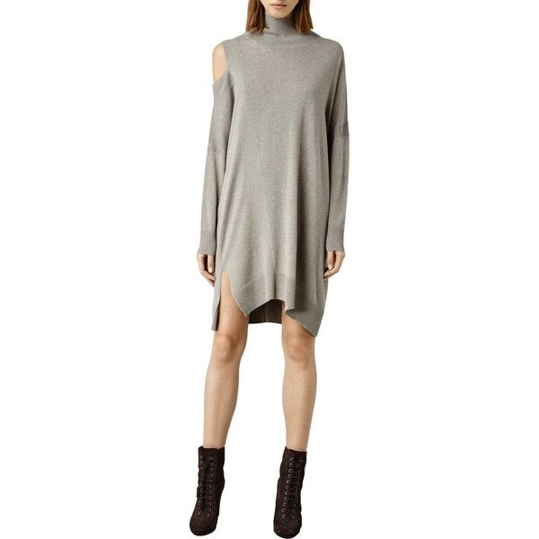 AllSaints Cecily Dress (1 420 SEK) ❤ liked on Polyvore featuring dresses, sable brown marl, long sleeve mini dress, long-sleeve maxi dresses, long-sleeve midi dresses, one shoulder maxi dress and long sleeve short dress