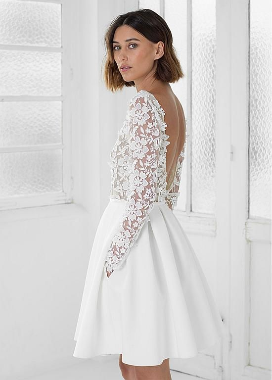 Magbridal Fantastic Lace & Satin Jewel Neckline A-line Wedding Dresses With Lace Appliques & Pockets